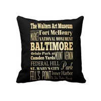 Baltimore City of Maryland State Typography Art Throw Pillows
