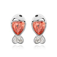 YCJ Women's Rhodium Plated Alloy Earrings: Little Fish Theme