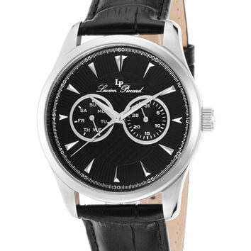 Lucien Piccard Men's Stellar Black Leather Chronograph Watch, 42mm - Black