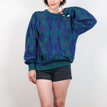Vintage 90s Sweater Teal Green Blue Purple Abstract Knit Boyfriend Sweater Chunky Knit cozy 1990s Sweater Soft Grunge Pullover M L Large XL
