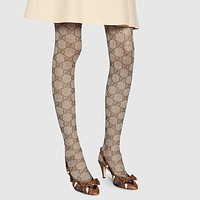 GUCCI Trending Women Sexy Double G Letter Jacquard High Elastic Mesh Pantyhose Trousers I12954-1