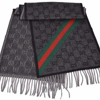 Gucci Men's Nikky Wool Angora Red Green Web Gg Guccissima Scarf