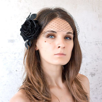 Black birdcage veil, Black veil, Retro veil, Hair flower veil, Flower veil, Black rose veil, Fascinator rose, Headpiece veil, Birdcage piece