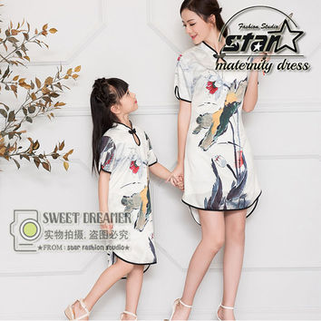 Mother & Kids Silk Chinese Cheongsam Qipao Dress Girls Parent Child Costumes Mom and Daughter Family Matching Outfits