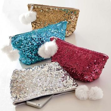 Sparkle Sequin Beauty Pouch, Silver and Gold
