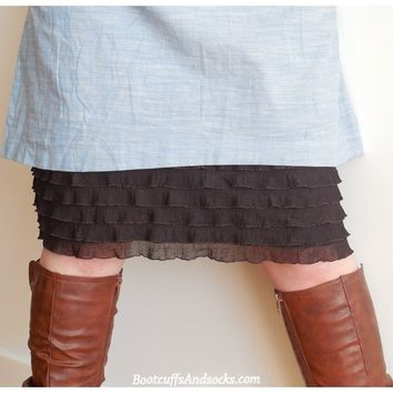 Chocolate / Brown extender slip, Tiered Ruffle skirt extender slip, dress extender slip , available in 8 different colors