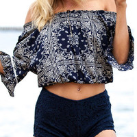 Ethnic Style Printed Blue Off Shoulder  Short Cropped T-shirt with Short Horn Sleeve