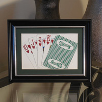O'Sheas Las Vegas 5x7 Flush? Hearts Authentic Playing Card Display Matted FRAMED NF1227
