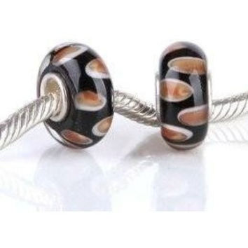European charm glass bead black and rust