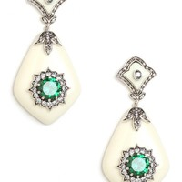 Miriam Salat Ivory and Emerald Glamour Earrings - Earrings - All Jewelry