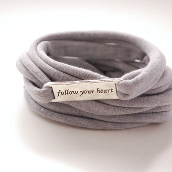 Pick your COLOR Follow your Heart Wrap Bracelet Light GRAY Stretch Wrist Bracelet Fashion accessory Women Teens Wrist Tattoo Cover