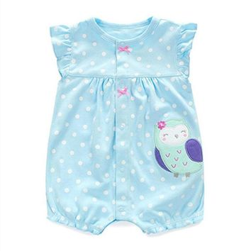 2017 New Summer Newborn Baby Girls Clothes Cute Cartoon Animal Cotton Rompers Infant Toddlers Short Sleeve Jumpsuit Costumes
