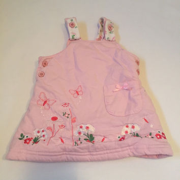 Pink warm floral padded pinafore dungarees dress Baby girls clothes 0-3 Months
