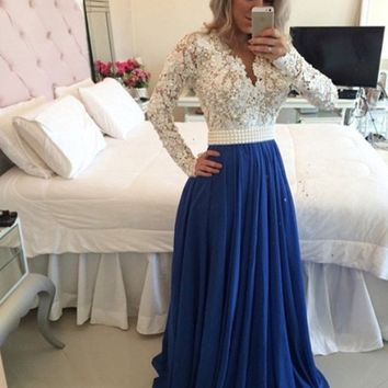 2016 New Design Charming Long A-line Royal Blue Chiffon White Lace Top Evening Dresses Long Sleeves Prom Party Gown R052410