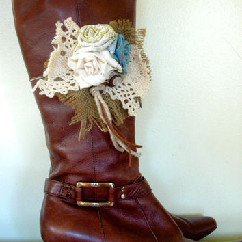 Boot Bands, Shoe Accessories Hand Made Fabric Rose Flowers Vintage Buttons, Lace and Burlap Boot Bling Boot Bracelet, Cowboy Boots