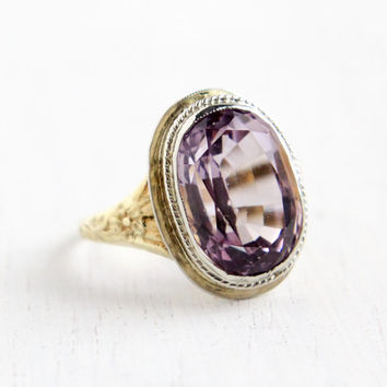 Antique 14k White & Yellow Gold Floral Amethyst Ring - Vintage Size 8 Art Deco 1930s Large 6 Carats Purple Gemstone Ring