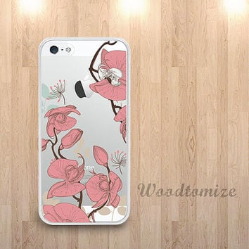 Transparent Peony flower phone case for iPhone 6, iPhone 4/4s/5/5s/5c, Samsung s4 s5 Note 3, floral pattern clear case with TPU edge (N32)