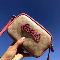COACH 2019 new simple and versatile small square bag shoulder bag Red