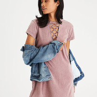 AEO Lace-Up T-Shirt Dress, Blush