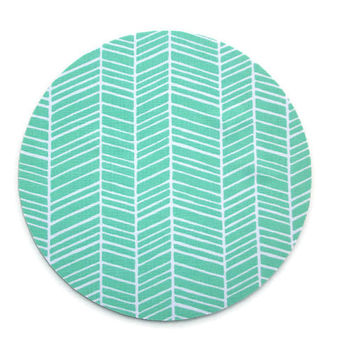 Mouse Pad mousepad / Mat - Round or rectangle -  herringbone chevron mint green coworker gift