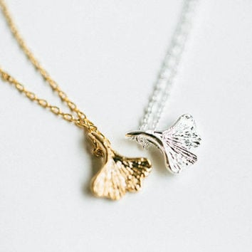 Cute Ginkgo leaf necklace,necklace,cute necklace,anniversary necklace, gold necklace,pendant necklace,women necklace,girl necklace,SNK51