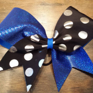 Royal blue and polka dots cheer bow