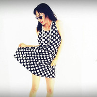 Polka dot dress - Vintage dress - rockabilly dress - 80s dress - urban fashion - party dress - jersey dress - mod dress - black and white