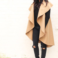 Premium Wool Waterfall Drape Sleeveless Flo Throw On Coat in Camel
