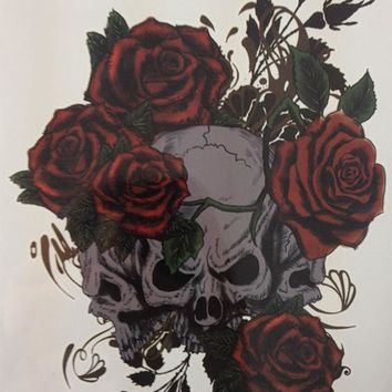 NEW TATTOO Three Skull And Rose Temporary Tattoo Stickers#16