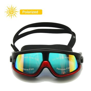 Polarized Swim Goggles Snorkel Mask Wide Vision Ear Plugs Hardcase Waterproof Anti-fog Anti-UV Silicone Surfing Diving Glasses