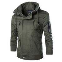 Zipper Stand Collar Men Jacket