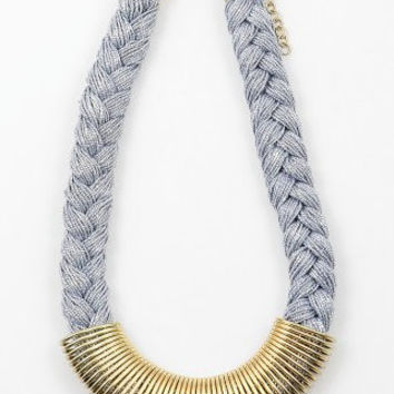Gray & Gold Braided Rope Necklace