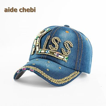 [aide chebi] Baseball Cap Women Full Crystal Colorful Big Butterfly Hat Denim Bling Rhinestone Snapback Cap Casquette Summer Hat