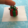 Polymer clay Christmas present charm, ornament