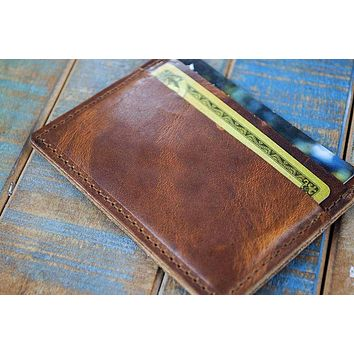 5-Slot Super Slim Front Pocket Card Sleeve Wallet (Horween Dublin Leather)