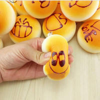 4CM Cute Smiley Face Bread Squishy Key Ring Charm Mobile Phone Strap Phone Charm Bag Pendant SM6
