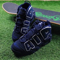 Best Online Sale Nike Air More Uptempo QS  Sport Baskerball Shoes Dark Blue Sneaker 921948-400