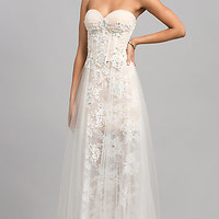 Floor Length Strapless Sweetheart Lace JVN by Jovani Dress