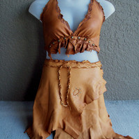 Ecru Deerskin Skirt -- leather burning man tribal leather fusion belly dance amazon larp gypsy