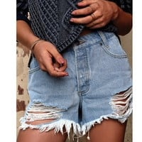 The Boyfriend Distressed Denim Short | RVCA