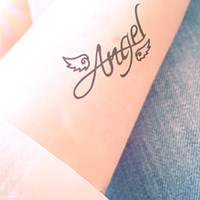 2pcs Angel Wing tattoo - InknArt Temporary Tattoo - quote tattoo wrist sticker fake tattoo tiny bird love