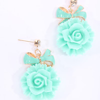 Mint Lacquer Finished Floral Dangle Earrings