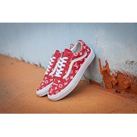 Vans x Supreme x Lv Old Skool Red High Top Men Flats Shoes Canvas Sneakers Women Sport Shoes