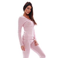 Pink Long Sleeve Lace-Up Knitted Top and Pants