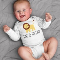 King of the Crib Lion Baby Bodysuit Romper One Piece for Baby Boy or Baby Girl Long or Short Sleeve 3, 6, 9, 12 Months