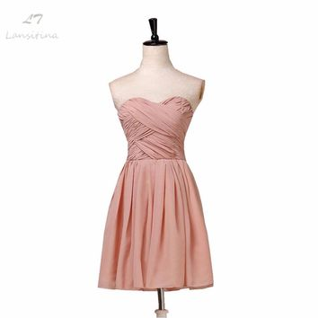 LANSITINA Pink Bridesmaid Dress Knee-Length Chiffon Cheap Pleat Party Prom Dresses Vestido De Festa De Casamento Dama De Honra