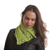 Knitted Scarf, Lime Neck Warmer, Wool Scarf, Winter Scarf by Solandia, knit Scarf, Cowl, Knitted Wool Shawl, Women, Teen, Christmas gift