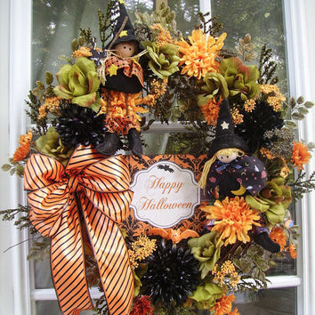 Fall Halloween Wreath for door with Witches, Mums and Roses  luxury upscale wreath