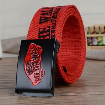 VANS Men and women leisure belt han edition automatically canvas woven belt Red