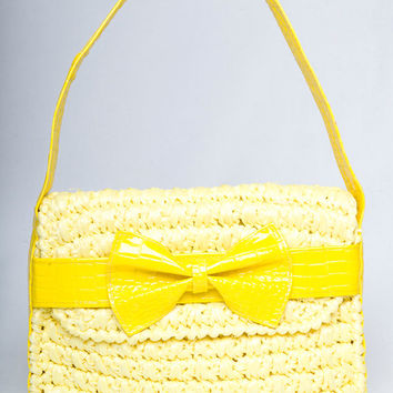 Vintage 60s Bright Yellow Raffia Patent Vinyl Shoulder Purse // 1960s Kawaii Bow Faux Animal Skin Vegan Pleather Metal Feet Kitsch